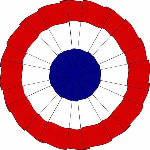 Трехцветная (красная, бело-синяя) кокарда, использовавшаяся во время Французской революции и Демократически-республиканской партией США