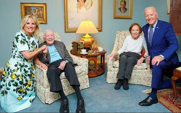 Президента США Джо Байдена и его супруга Джилл Байден в гостях у Джеймса Картера с супругой 5.05.2021